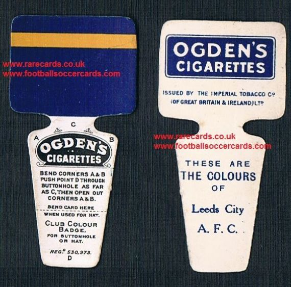 1910 Ogden Club Colour Badge cigarette card Leeds City FC